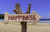 Happiness wooden sign with a beach on background — Stock Photo