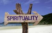 Spirituality wooden sign with a beach on background — Stock Photo