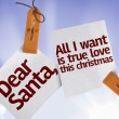 Dear Santa, All I Want is True Love This Christmas on Paper Note — Stock Photo #59672997