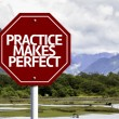 Practice Makes Perfect written on red road sign — Stock Photo #59674069