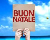 Merry Christmas (In Italian) card — Stock Photo