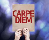 Carpe Diem card written on colorful background — Stock Photo