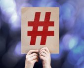 Hashtag Icon written on colorful background — Stock Photo