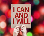 I Can and I Will card with colorful background — Stock Photo