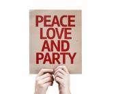 Peace Love and Party card — Stock Photo