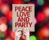 Peace Love and Party written on colorful background — Stock Photo