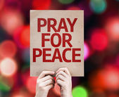 Pray For Peace card written on colorful background — Stockfoto