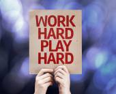 Work Hard Play Hard written on colorful background — Stock Photo