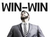 Homem de negócios com o texto de Win-Win — Fotografia Stock