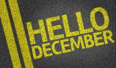 Hello December written on the road — Stock Photo