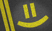 Happy Smiley written on the road — Stock Photo