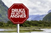 Drugs Are Not The Answer written on red road sign — Foto de Stock