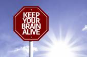 Keep Your Brain Alive written on red road sign — Foto Stock
