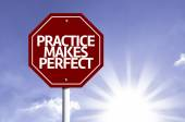 Practice Makes Perfect written on red road sign — Stock Photo