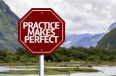 Practice Makes Perfect written on red road sign — Stok fotoğraf