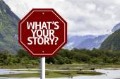 Whats Your Story? written on red road sign — Stock Photo