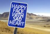 Happy Face With Sad Heart sign — Stock Photo