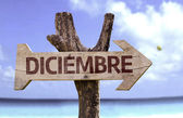 December (In Spanish) sign — Stock Photo