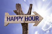 Happy Hour wooden sign — Stock Photo