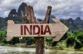 India wooden sign — Foto Stock