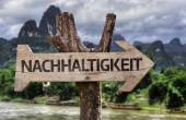 Sustainability (In German) wooden sign — Stockfoto