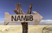 Namib wooden sign — Stock Photo