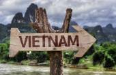 Vietnam wooden sign — Foto de Stock