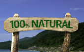 One hundred percent  Natural wooden sign — Stock fotografie