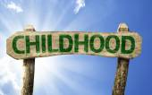 Childhood sign with a beach — Stockfoto