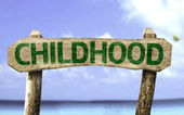 Childhood sign with a beach — Stok fotoğraf