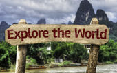 Explore the World wooden sign — Stockfoto