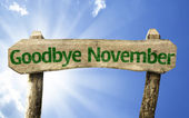 Goodbye November wooden sign — Stock Photo