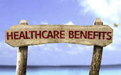 Healthcare Benefits wooden sign — Stock Photo