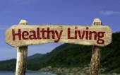 Healthy Living wooden sign — Stock Photo