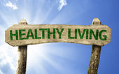 Healthy Living wooden sign — Foto de Stock