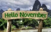Hello November wooden sign — Stock Photo