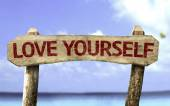 Love Yourself wooden sign — Stock Photo