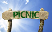 Picnic wooden sign — Stock Photo