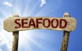 Seafood wooden sign — Stock Photo