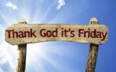 Thank God It's Friday wooden sign — Stock Photo