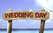 Wedding Day wooden sign — Stock Photo