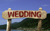 Wedding wooden sign — Stock Photo