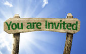 You're Invited! wooden sign — Stock Photo