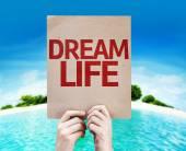 Dream Life card with a beach — Stock Photo