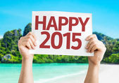 Happy 2015  card with a beach background — Stock Photo