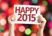 Happy 2015 card with colorful background with defocused lights — 图库照片