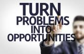 Board with text: Turn Problems into Opportunities — Stock Photo