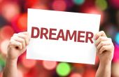 Dreamer card with colorful background — Stock Photo
