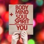 Body plus Mind plus Soul plus Spirit equal You card — Stock Photo #63146649