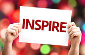 Inspire card In hands — Stock Photo